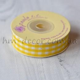 Лента клетка 2 см желтая 1 м