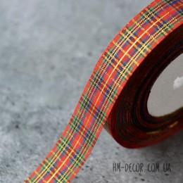 Лента шотландка c золотой нитью 2,5 см 1 м