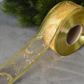 Лента новогодняя органза Веточки золото 3,8 см 1 м
