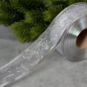Лента новогодняя органза Веточки серебро 3,8 см 1 м