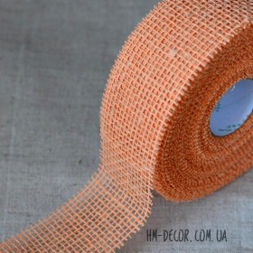 Лента-мешковина светло-оранжевая 5 см 1 м