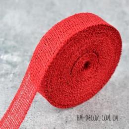 Лента-мешковина красная 3.5 см 1 м