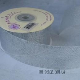 Лента парча 4 cм серебро 1 м