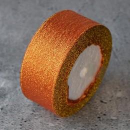 Лента парча 4 см апельсиновая 1 м