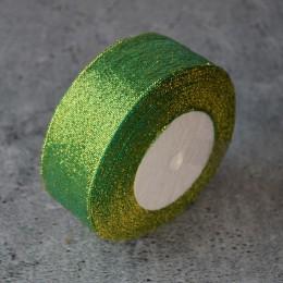 Лента парча 4 см зеленая 1 м