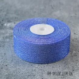 Лента парча 3.5 см синяя 1 м