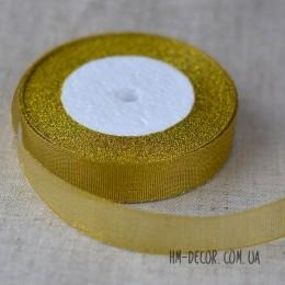 Лента парча 2,5 см золото 1 м
