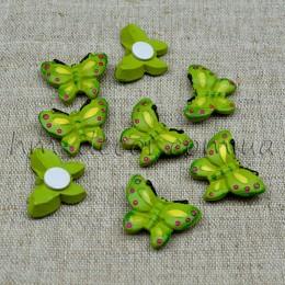 Бабочка зеленая на липучке 2 см