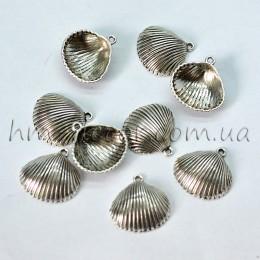 Металлическая подвеска ракушка серебро 2,5 см