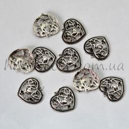Металлическая подвеска сердце серебро 2,5*2,5 см