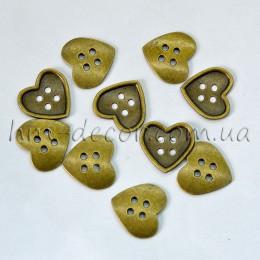 Металлическая подвеска сердце бронза 3,5 см