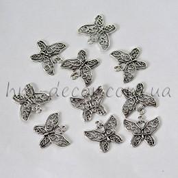 Металлическая подвеска бабочка серебро 3*2,5 см