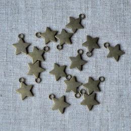 Металлическая подвеска звездочка бронза 1,5 см