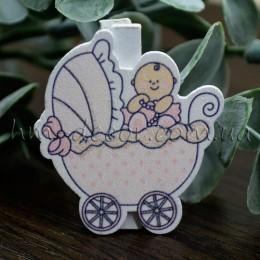 """Прищепка декоративная """"Младенец"""" розовая"""