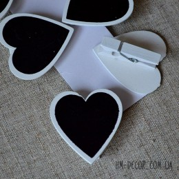 Сердце белое с меловой доской на прищепке 4 см 1 шт.