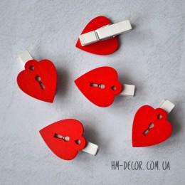 Прищепка Сердце-замок красное 3,5 см