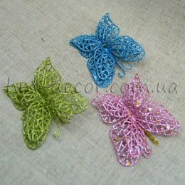 Бабочка для декора с блестками 6 см