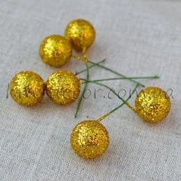 Шарик на проволоке блестящий золото 2 см 1 шт.