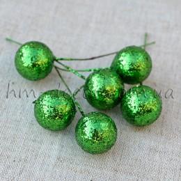 Шарик на проволоке блестящий зеленый 2 см 1 шт.