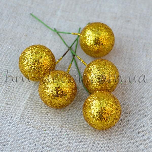 Шарик на проволоке блестящий золото 2,5 см 1 шт.
