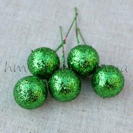 Шарик на проволоке блестящий зеленый 2,5 см 1 шт.