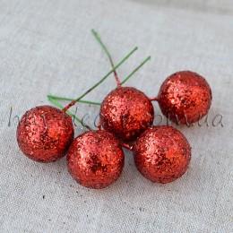 Шарик на проволоке блестящий красный 2,5 см 1 шт.