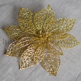 Пуансетия золото в глиттере 13 см