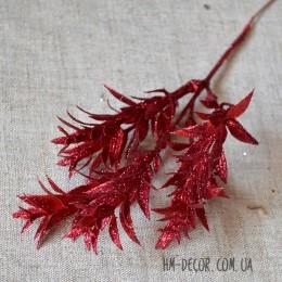 Новогодняя ветка мелкий лист красная глиттер 20 см
