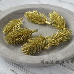 Веточка ели золото глиттер 5 см 1 шт.