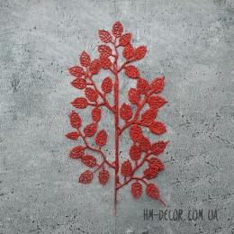 Ветка с листиками красная глиттер 45 см