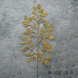 Ветка с листиками золото глиттер 45 см
