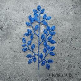 Ветка с листиками синяя глиттер 45 см