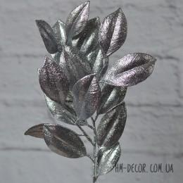 Ветка лавра серебро глиттер 30 см