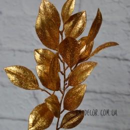 Ветка лавра золото глиттер 30 см