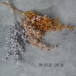 Ветка новогодняя тонкая золото глиттер 23 см