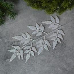 Ветка новогодняя с острыми листиками белая глиттер 35 см