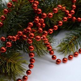 Бусы на нитке новогодние красные 8 мм 1 м