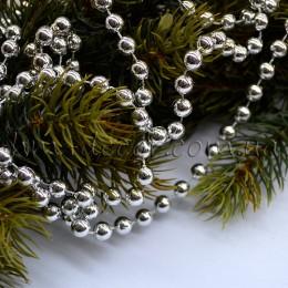 Бусы на нитке новогодние серебро 8 мм 1 м