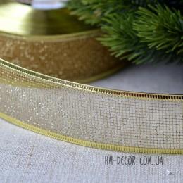 Лента новогодняя Сетка золото 3,8 см 1 м
