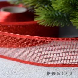 Лента новогодняя Сетка глиттер красная 3,8 см 1 м