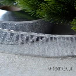 Лента новогодняя Сетка серебро 3,8 см 1 м