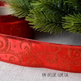 Лента новогодняя атласная Узор красная 3,8 см 1 м
