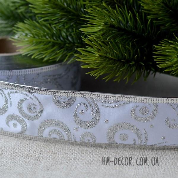 Лента новогодняя атласная Узор белая с серебром 3,8 см 1 м