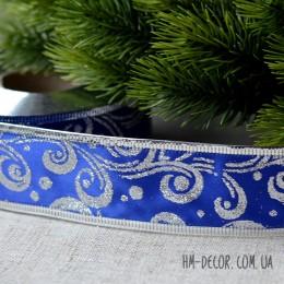 Лента новогодняя атласная Узор синяя с серебром 3,8 см 1 м