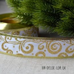 Лента новогодняя атласная Узор белая с золотом 3,8 см 1 м