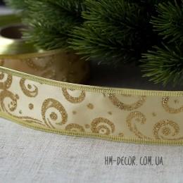 Лента новогодняя атласная Узор золотая с золотом 3,8 см 1 м