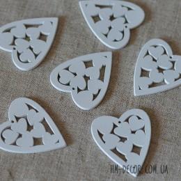 Сердце 003 деревянное белое 4*5 см