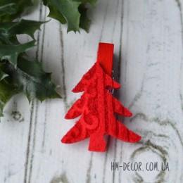 Прищепка новогодняя Елочка красная фетр 4,5 см