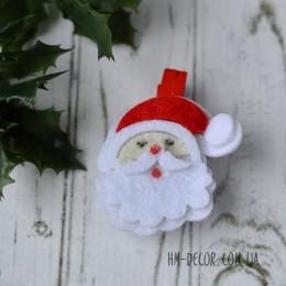 Прищепка новогодняя Санта фетр 4,5 см