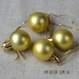 Шарик новогодний золото матовый 3 см 1 шт.